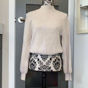Zara mockneck puff sleeve knit sweater medium nwot